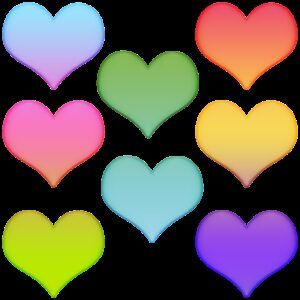 hearts, colorful hearts, stickers